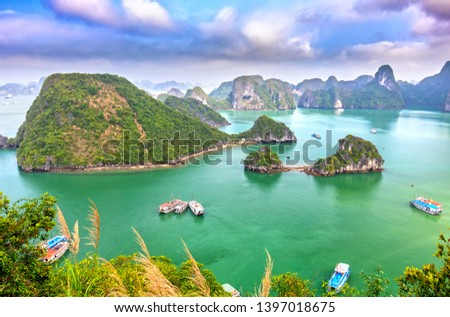 Beautiful landscape Halong Bay view from adove the Ti Top Island. Halong Bay is the UNESCO World Heritage Site, it is a beautiful natural wonder in northern Vietnam Royalty-Free Stock Photo #1397018675