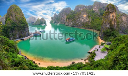 Beautiful landscape Halong Bay view from adove the Bo Hon Island. Halong Bay is the UNESCO World Heritage Site, it is a beautiful natural wonder in northern Vietnam #1397031425