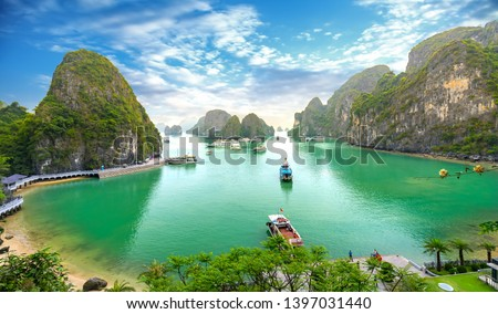 Beautiful landscape Halong Bay view from adove the Bo Hon Island. Halong Bay is the UNESCO World Heritage Site, it is a beautiful natural wonder in northern Vietnam #1397031440