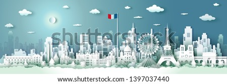 Travel French architecture with sunrise and sunset, Paris landmark in France cityscape with panoramic views and French flag, origami style paper for travel posters and postcards, Vector illustration. #1397037440