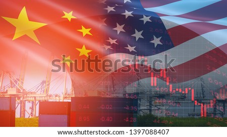 USA and China trade war economy conflict tax business finance money / United States raised taxes on imports of goods from China on Container ship in export and import logistics background #1397088407