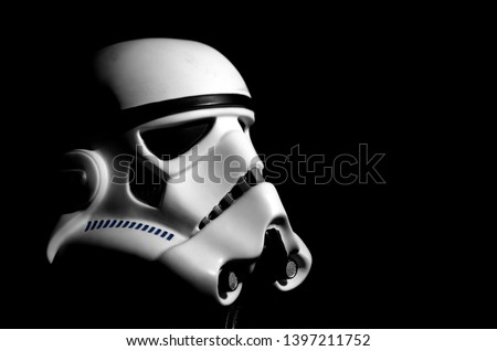 Stormtrooper helmet with black background Royalty-Free Stock Photo #1397211752