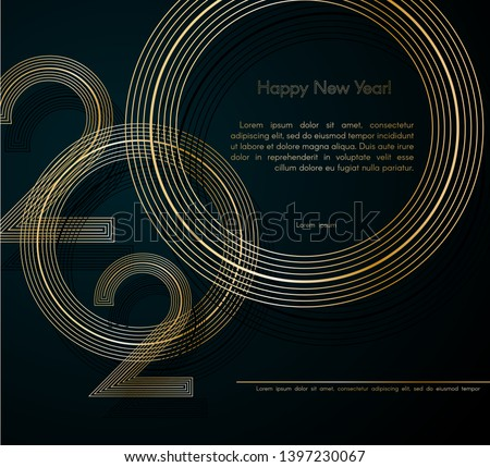 Gold lines 2020 New Year on a dark background Creative element for design luxury cards invitations party for the New Year 2020 and Christmas Modern design gold line 2020 festive invitation card Vector #1397230067