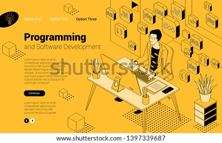 Flat design isomentric illustration of programmer at work.  Vector concept for  presentation, application, infographics and web banner.