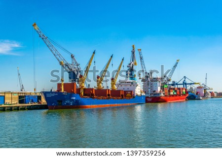 ROTTERDAM, NETHERLANDS, AUGUST 6, 2018: View of the port of Rotterdam, Netherlands #1397359256