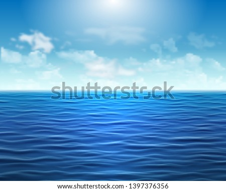 Realistic blue sea background with waves and sun on the sky. Backdrop for banner, brochure, flyer, advertising booklet #1397376356