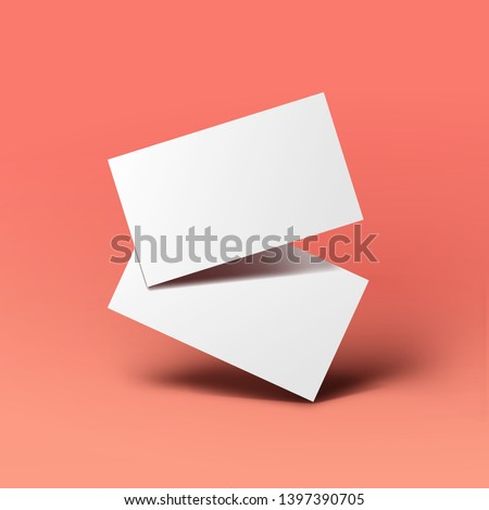 Realistic floating business branding cards template mockup with shadows. Vector illustration Royalty-Free Stock Photo #1397390705