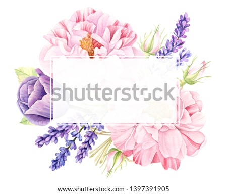 Watercolor floral bouquet of vintage botanical illustration of big realistic pink rose flowers, violet lavender and purple tulip isolated on white collection, wedding design arrangement text frame #1397391905