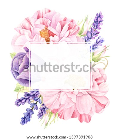 Watercolor floral bouquet of vintage botanical illustration of big realistic pink rose flowers, violet lavender and purple tulip isolated on white collection, wedding design arrangement text frame #1397391908