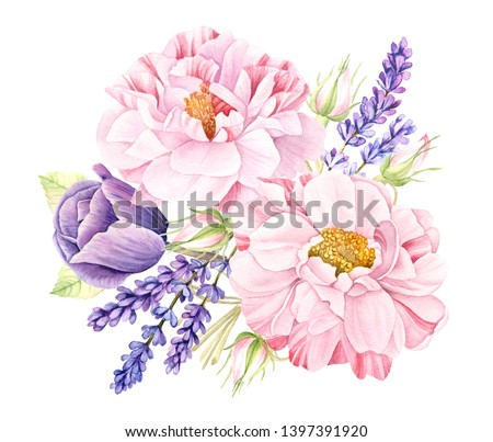 Watercolor floral bouquet of vintage botanical illustration of big realistic pink rose flowers, violet lavender and purple tulip isolated on white collection, wedding design  arrangement