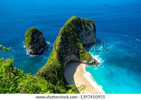 Nusa Penida, Bali, Indonesia. Manta Bay or Kelingking Beach on Nusa Penida Island, Bali. Nusa Penida is one of the most famous tourist attraction place to visit in Bali.  #1397410955