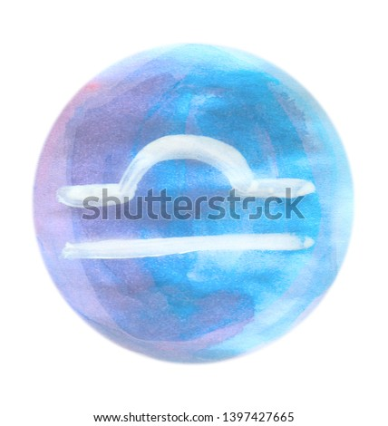 Painted LIBRA Zodiac sign on white background