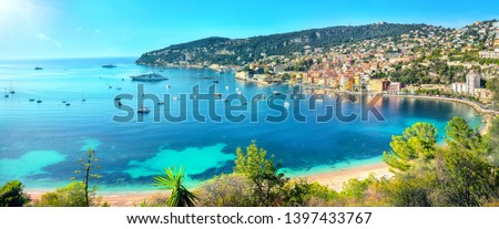 Panoramic view of bay Cote d'Azur and resort town Villefranche sur Mer. French riviera, France Royalty-Free Stock Photo #1397433767