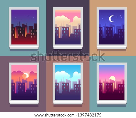 Windows day time. Early morning sunrise sunset, noon and dusk evening, night cityscape skyscrapers inside home window. concept #1397482175