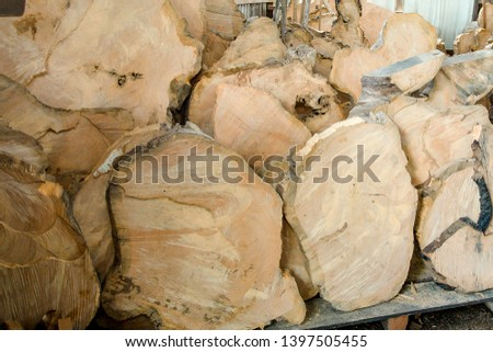 Close up of wood and timber for wooden furniture industry. #1397505455