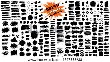 Brush strokes bundle. Vector paintbrush set. Circle frames. Round grunge design elements. Rectangle, square and burst text boxes. Dirty distress texture banners. Ink splatters. Grungy painted lines #1397553938