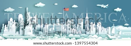 Tour landmarks United States of America famous monument architecture skyline, Travel landmark to golden gate bridge and statue of liberty, Traveling architecture sculpture world, Vector illustration. #1397554304