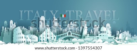 Travel italy Europe architecture famous landmarks by gondola and sailboat, Tourism venice popular landmark italy and flag Italy, Origami paper cut style for art and postcard, Vector illustration. #1397554307