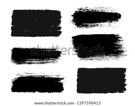 Brush strokes. Vector paintbrush set. Grunge design elements. Rectangle text boxes. Dirty distress texture banners. Ink splatters. Grungy painted objects. #1397598413
