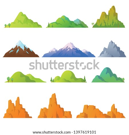 Collection of mountains in cartoon style. Vector mountains peaks isolated on white background. Rocky landscape. Desert cliffs. Background with hills. Elements for your design. Eps 10. Royalty-Free Stock Photo #1397619101