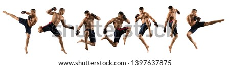 MMA male fighter isolated on white background Royalty-Free Stock Photo #1397637875