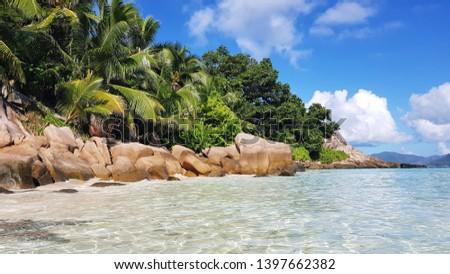 anse severe beach on la digue island in Seychelles  #1397662382