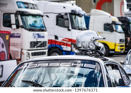 APRIL 2019: Porsche 911 in montjuic spirit Barcelona circuit car show #1397676371
