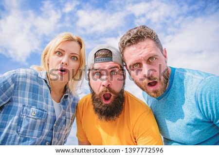 No way. Friends shocked faces looking at you. That is impossible. Shocking news. Amazed surprised face expression. How to impress people. Shocking impression. Men with beard and woman looking shocked. #1397772596