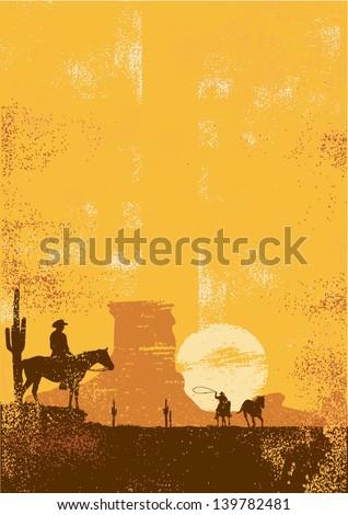 Cowboy background in grunge style