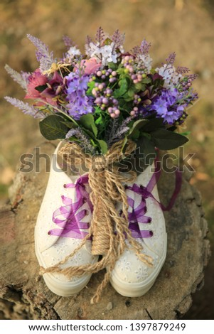 bridal bouquet in the bridal sport shoes #1397879249