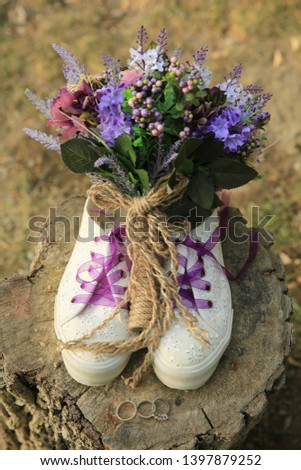 bridal bouquet in the bridal sport shoes #1397879252