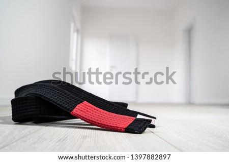 BJJ Brazilian Jiu JItsu Black Belt on the floor at home #1397882897