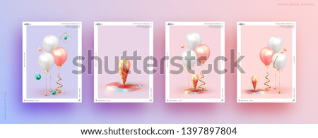 Festive background with helium balloons. Celebrate a birthday, Poster, banner happy anniversary. Realistic decorative design elements. Vector 3d object ballon with ribbon, pink and white color. #1397897804
