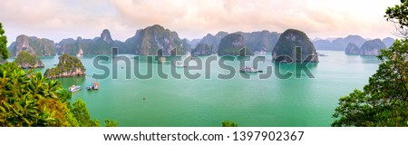 Beautiful landscape Halong Bay view from adove the Ti Top Island. Halong Bay is the UNESCO World Heritage Site, it is a beautiful natural wonder in northern Vietnam Royalty-Free Stock Photo #1397902367