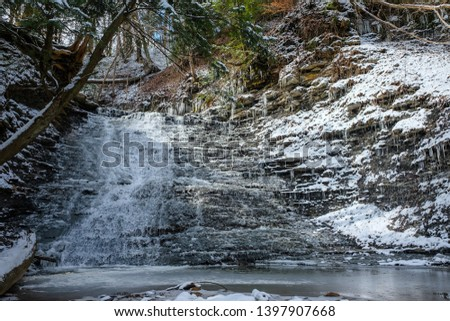 Cucumber Falls in winter at Cuyahoga Valley National Park, Ohio. #1397907668