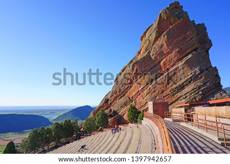 MORRISON, CO -11 MAY 2019- View of the Red Rocks Amphitheatre, an open-air amphitheater carved into the red rock located near Denver, Colorado. #1397942657