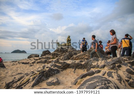 April, 2019 - Landmark of samila beach, Ole mermaid statues on the Samila Beach is a tourist attraction of the songkhla province, Thailand  #1397959121