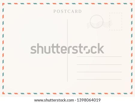 Vintage postcard template. Postal card illustration for design Royalty-Free Stock Photo #1398064019