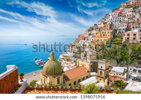 Beautiful Positano on hills leading down to coast, comfortable beaches and azure sea on Amalfi Coast in Campania, Italy. Amalfi coast is popular travel and holyday destination in Europe. #1398075956