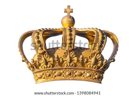 Golden Crown. Swedish Royal Crown isolated on white background. Symbol of Swedish Kingdom. National Emblem. Golden Royal Crown of Sweden. National Day of Sweden. #1398084941
