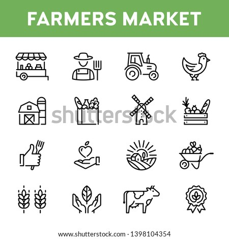 Vector farmers market icon set. Modern agriculture logo symbol collection. Organic farming pictogram illustration in line style. Eco, bio, natural signs for local food shop, healthy fresh products #1398104354