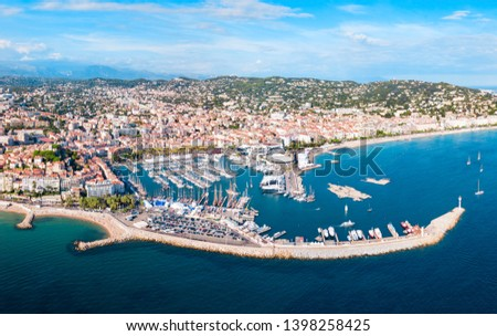 Cannes aerial panoramic view. Cannes is a city located on the French Riviera or Cote d'Azur in France. #1398258425