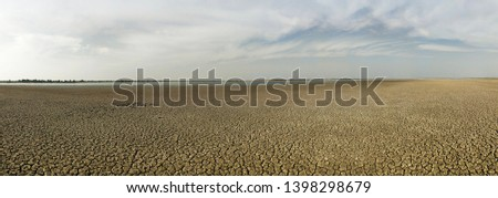 Harsh Summer at Runn of Kutch Gujarat India - Dried Water Body, water reserves #1398298679