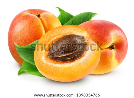 Fresh apricot fruits. Apricot isolated on white background. Apricot Clipping Path. Sweet apricots with leafs on white #1398334766