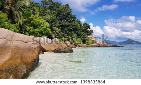anse severe beach view on la digue island in Seychelles  #1398335864