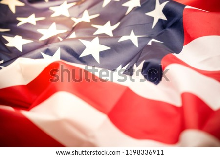Closeup tars and stripes of United States of America or USA flag. USA are freedom land and independence country. Memorial Day concept. #1398336911