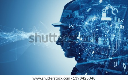 Industry and technology concept. INDUSTRY 4.0 Royalty-Free Stock Photo #1398425048
