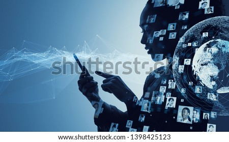 Social media concept. Communication network. Royalty-Free Stock Photo #1398425123