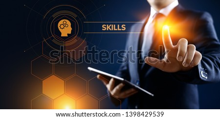 Skills Education Learning Personal development Competency Business concept. Royalty-Free Stock Photo #1398429539