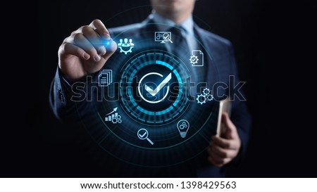 Standards quality Assurance control standardisation and certification concept. Royalty-Free Stock Photo #1398429563